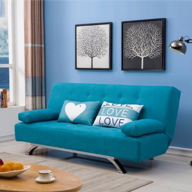雅客集艾琳娜休閑沙發天藍色FB-20303BU 可拆洗布藝沙發床 乳膠床