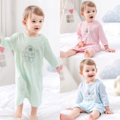 春夏新款棉店嬰兒睡衣春夏薄款純棉七分袖家居服兒童睡裙嬰兒睡袍寶寶睡衣
