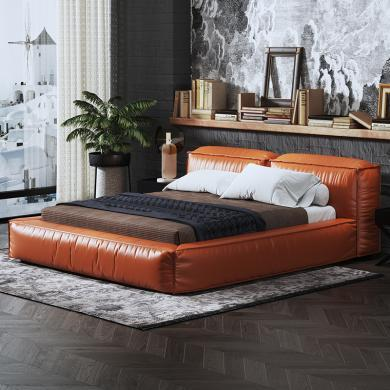 慕梵迪 床 輕奢極簡 中纖板+超纖皮+實木+不銹鋼五金 C-062