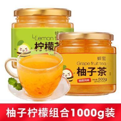 立尚蜂蜜柚子柠檬茶罐装冲水喝的饮品泡水冲饮冲泡水果茶酱500g