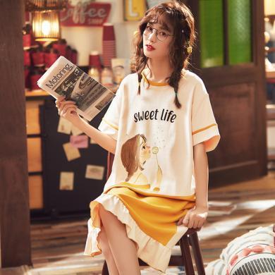 库依娜内衣 夏季新款居家睡裙女士短袖睡裙中长裙可爱风卡通睡裙E2202