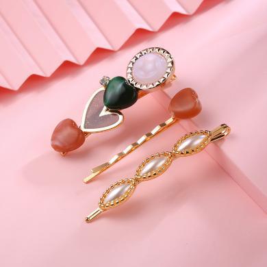 盈滿堂 韓版時尚珍珠發夾邊夾3件套可愛甜美少女心一字夾發飾頭飾