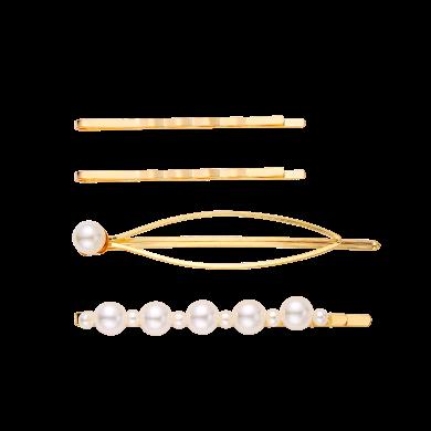 盈滿堂 韓版氣質珍珠發夾4件套甜美一字夾邊夾劉海發飾