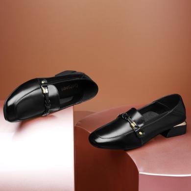 古奇天伦 春季新款单鞋女圆头方跟单鞋套脚乐福鞋纯色低跟鞋子 GQ/9729