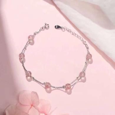 ARMASA阿玛莎s925银手链草莓晶银珠双层手链仙女手链女纯银时尚新品自戴送闺蜜礼物