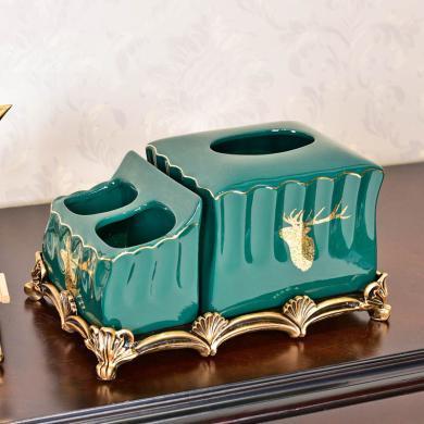 欧式轻奢风多功能纸巾盒摆件美式客厅家用陶瓷抽纸盒遥控器收纳盒