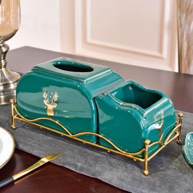美式陶瓷轻奢家用抽纸盒欧式客厅创意多功能装饰品收纳纸巾盒摆件