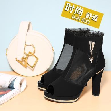 百年紀念  新款魚嘴粗跟涼鞋后拉鏈網紗設計女鞋防水臺女鞋子bn2183