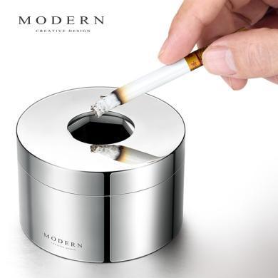 德国MODERN创意个性潮流烟灰缸不锈钢封闭式带盖防飞灰男礼品定制