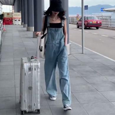 CAVS牛仔背带裤女2020年春季新款宽松显瘦韩版阔腿直筒减龄长裤子HD9021