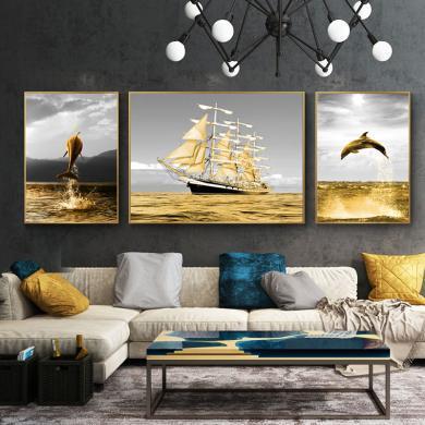 DEVY 輕奢風客廳裝飾畫三聯畫壁畫現代簡約風格墻畫北歐沙發背景墻晶瓷畫掛畫