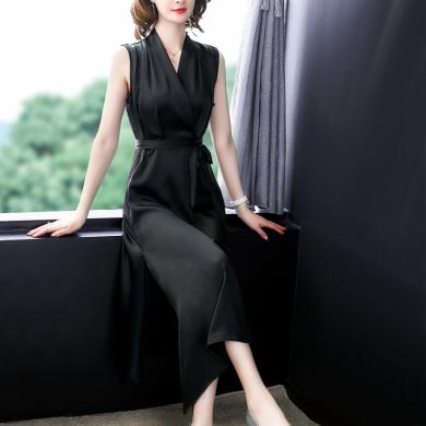 妙芙琳 2020夏季V领无袖简单大方修身气质连衣裙酒红色显瘦宴会晚礼服裙子