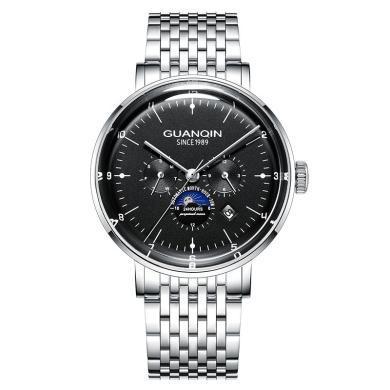 冠琴正品男士手表全自动机械表镂空防水多功能新款钢带时尚潮流手表男