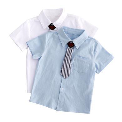 ocsco 童装衬衫夏季新款男童短袖衬衣中小童领结校服儿童演出服