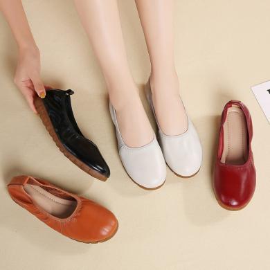 MIJI2020妈妈鞋平底工作鞋圆头皮鞋女真皮软底职业女鞋浅口工作鞋女单鞋DP-9736
