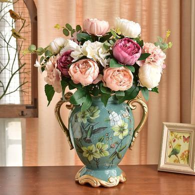 墨菲欧式田园大号陶瓷花瓶装饰摆件美式复古客厅仿真干花艺插花器