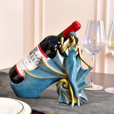 酒柜裝飾品擺件創意歐式客廳餐桌軟裝飾品美女葡萄酒紅酒架子擺設
