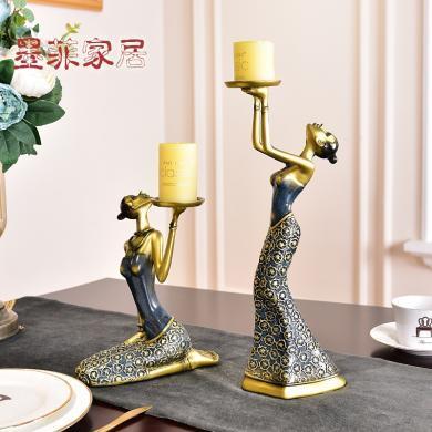 美女燭臺擺件家居飾品歐式客廳裝飾品美式燭光晚餐道具餐桌擺設
