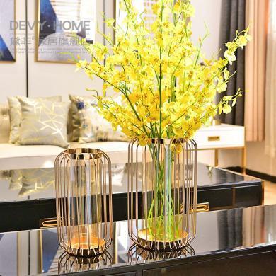DEVY美式烛台摆设 欧式客厅餐桌装饰品干花仿真花插花器花瓶摆件