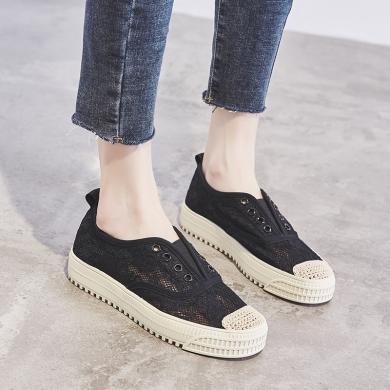 MIJI2020时尚女鞋潮夏新款平底镂空蕾丝网面鞋舒适透气懒人鞋渔夫鞋LP-F23-2