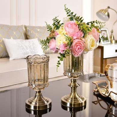 欧式轻奢玻璃花瓶水养鲜花美式创意客厅餐桌装饰插花摆件仿真花艺