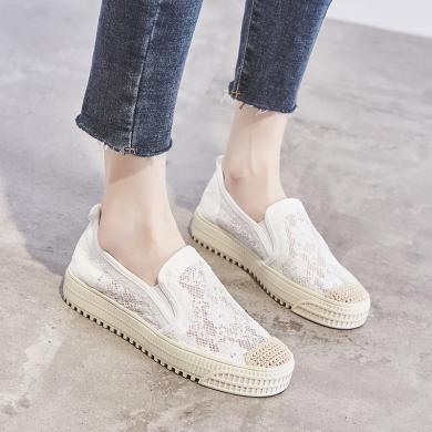 MIJI2020时尚女鞋潮夏新款平底镂空蕾丝网面鞋舒适透气懒人鞋渔夫鞋LP-F23-1