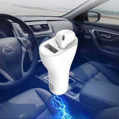 亮视线 新款二合一车充蓝牙耳机 5.0tws单耳无线耳机 智能车载充电点烟器