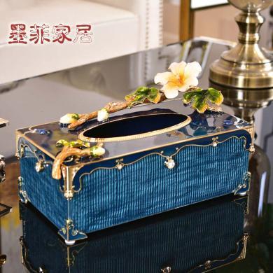 珐琅彩纸巾盒欧式创意轻奢风摆件客厅茶几卧室家居高端装饰抽纸盒