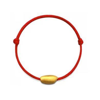 ARMASA阿玛莎硬足金黄金999鼠年有米红绳手链编织手绳男女情侣手链时尚新品转运珠大米手链生肖礼物鼠年礼物附检测证书