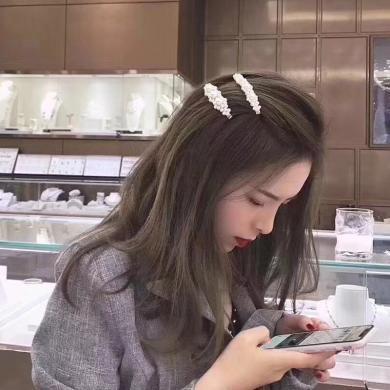 風下Hrfly ins珍珠發夾韓國簡約氣質淑女珍珠甜美成人邊夾子發卡網紅頭飾