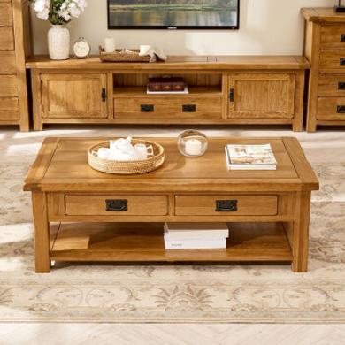 優家工匠 實木茶幾簡約 客廳 實木茶桌小戶型抽屜咖啡桌歐式原木電視柜組合