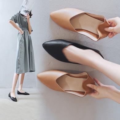 阿么2020春秋新款韓版平底單鞋女時尚百搭一腳蹬工作鞋尖頭奶奶鞋