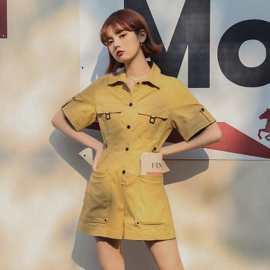 BANANA BABY2020夏季新款纯棉收腰修身显瘦短袖工装连衣裤女短裤D202LT358