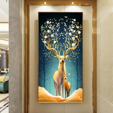 DEVY 玄關裝飾畫玄幻有框畫進入戶輕奢北歐風格豎版麋鹿裝飾畫走廊過道客廳掛畫壁畫