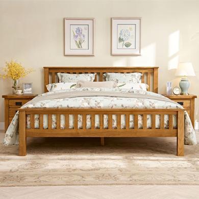 優家工匠 實木床 中式豎條床簡易仿古色雙人床英式鄉村白橡木床