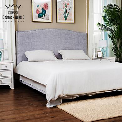 皇家愛慕 INS風格實木布藝床1.5m1.8米小戶型現代簡約床雙人床美式北歐棉麻布床