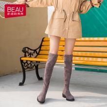 BEAU 秋冬新款過膝靴女粗跟長筒靴高筒中粗跟彈力靴瘦腿女靴子01009