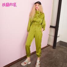 妖精的口袋Y通勤秋装2018新款裤子绿色长裤薄款复古修身连体裤女J