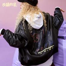 妖精的口袋Y黑色帅气仿皮草女韩版秋装2018新款宽松通勤长袖外套R