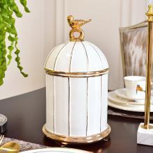 DEVY 欧式创意鸟笼陶瓷收纳罐现代简约客厅样板间装饰收纳摆件