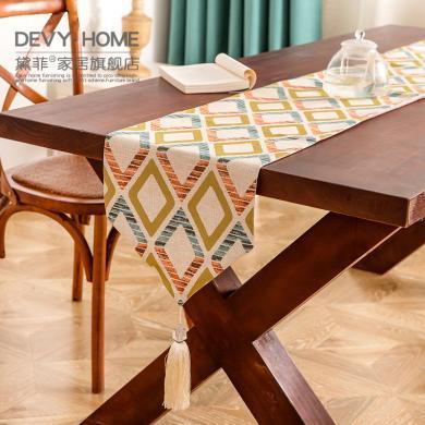 DEVY 現代簡約時尚格子桌旗桌墊餐桌布藝電視柜床旗茶幾桌旗布
