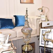 DEVY 歐式裝飾花瓶玻璃擺件 美式客廳家居創意糖果收納罐儲物罐