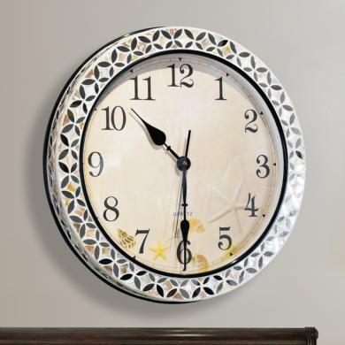 DEVY美式創意大號貝殼石英鐘表掛鐘現代別墅靜音臥室時鐘客廳掛鐘