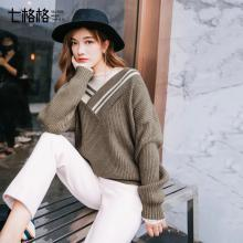 新品 七格格 撞色条纹针织衫秋装女2018新款宽松v领套头衫复古露肩毛衣