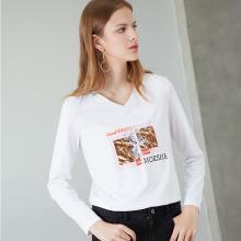 熙世界V領長袖上衣女2018秋季新款修身體恤打底衫印花T恤113LT054
