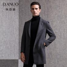 狄亚诺男士夹棉羊毛呢子大衣男修身中长款保暖外套2018秋冬装新款 240852