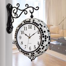 墨菲 欧式石英钟表现代简约创意静音时钟客厅双面挂钟家居墙壁装饰