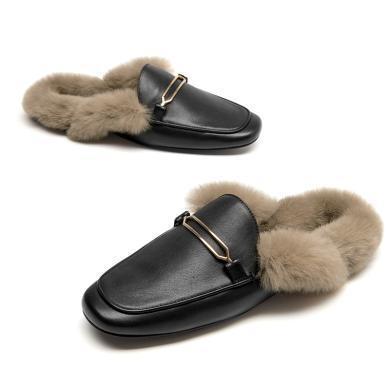 BT 毛毛拖鞋女外穿穆勒鞋复古包头半拖鞋女时?#22411;?#27611;懒人鞋A37010