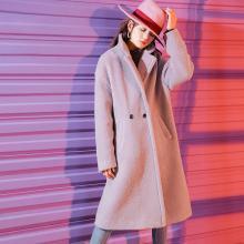 新品 七格格 仿皮草外套女2018新款冬韩版中长款紫色呢子大衣仿皮毛一体