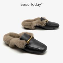 BT 毛毛拖鞋女外穿秋冬季包头半拖鞋女时?#24515;?#21202;鞋37009